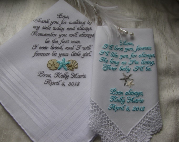 Destination Wedding Handkerchiefs for Mother and Father of the Bride