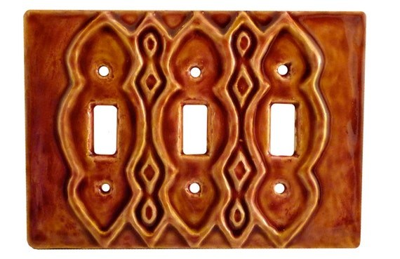 Ceramic Light Switch Cover- Moroccan Triple Toggle Switchplate in Amber Wine Glaze Color