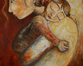 mother and child red gold peace - Forgive - Archival 13x19 signed motherhood art print