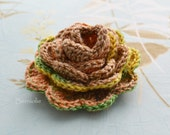 Crochet flower brooch, shawlpin, yellow green I912