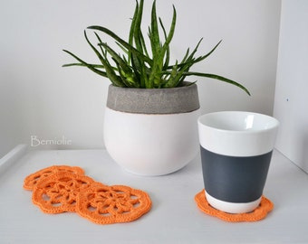 Orange cotton crochet coasters, set of 4, I931