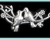 2 Antiqued Silver Kissing Birds connectors - Love Birds on Branch 45 x 21 mm