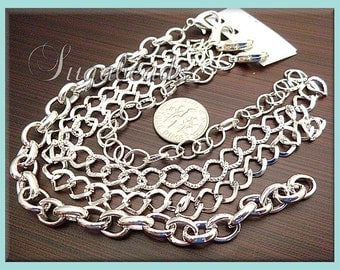 4 Silver Plated Bracelet Chains - Blank Mixed Styles 8 inch (CSB4)
