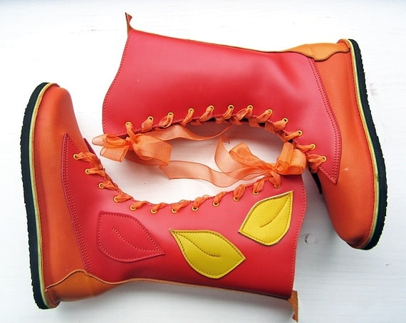 Size UK 6, MOONSHINE in Scarlet, Marmalade 2355 Handmade leather Fairy tale boots, by Fairysteps Shoes