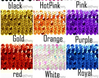 1.25 inch Glitter SEQUIN Stretch Elastic - Three Yards - CHOOSE colors