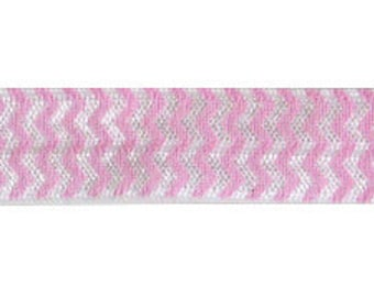 5 YARDS 5/8 inches Print Fold Over Elastics FOE - CHEVRON Pink White