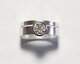 Moissanite Engagement Ring in Silver Modern Wedding Band Style In Your Size