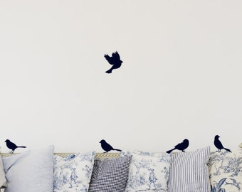 5 Birds Sitting & Flying - Home Decor - Bird Decor - Wall Art Graphics - Decals Stickers - Wall Decal - Vinyl Lettering - Wall Art 1482