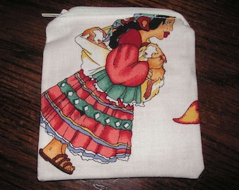 Mexican Henry spanish handmade fabric coin change purse card holder