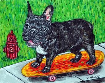 bulldog art - french bulldog dog -art PRINT-  - modern pop art, dog art, skateboarding , dog, dog art, dog print, french bulldog print
