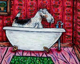fox wire terrier dog bathroom animal art tile coaster  JSCHMETZ modern abstract folk pop art AMERICAN ART gift