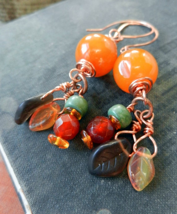 Earth Dance - Autumn Earrings of Copal, Carnelian, Turquoise, Amber, Glass and Copper