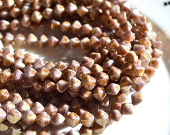 Opaque Gold and Smoky Topaz 6mm bicone Czech GLass Beads   50