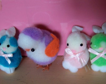 tiny furry soft easter bunnies and chick