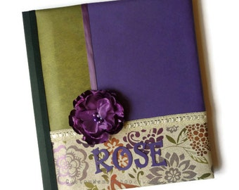 Purple Green Personalized Custom Baby Memory Book - Flower Lace