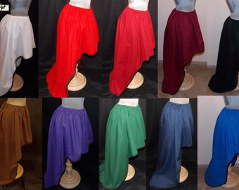 Choose COLORS Victorian Steampunk High Low Skirt with Trim - Choose Size and Color for Fabric and Trim