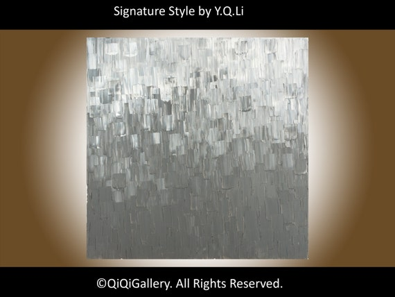 """15% OFF - Original Grey Abstract Painting Heavy Texture Impasto Palette Knife Wall Decor """" All Shades Of Grey"""" by QIQIGALLERY"""