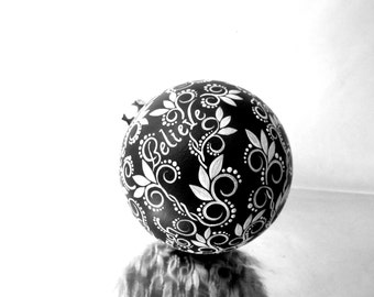Words: Black and white Hand painted Ornament