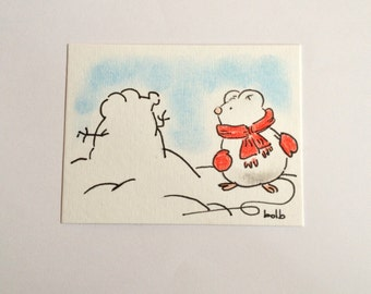 Sweet little mice (No 22)  - Original Miniature Aceo by bdbworld on Etsy