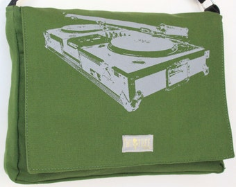 GREEN Turntable MESSENGER Book Laptop Diaper Bag