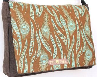 Brown FEATHERS  MESSENGER Book iPad Laptop Diaper BAG