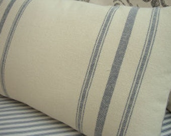 Cottage Grainsack Look Linen Pillow/ DOWN & FEATHER/ Ticking/ Paris Shabby Chic/ French BLuE Decorative Pillow