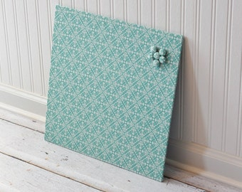 Wall Mount Magnet Board 16inx16in No Frame - Blue and White Diamond Damask fabric