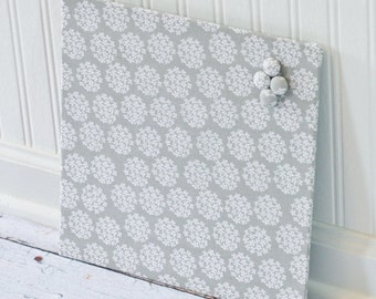 Magnetic Bulletin Board 12inx12in No Frame - Gray and White Bouquets fabric