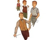 Vintage Sewing Pattern 50s Rockabilly Loop Shirt Small Collar Lapel Reversible Vest 1950s Teen Boy size 16 Chest 34 Simplicity 4161