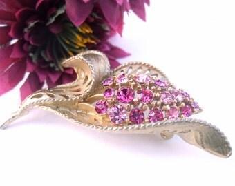 Vintage Brooch 50s Signed Lisner Pink Rhinestone Flower Pin Tulip Costume Jewelry