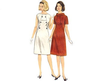 Vintage 60s Sewing Pattern Roll Cowl Collar Sheath Dress Figure Flattering Fitted Dress Pattern Uncut bust 32 size Small Butterick 3176