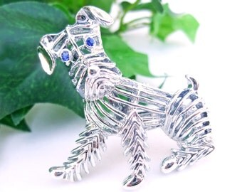 Vintage Brooch 1960s Scottie Dog Pin Silver Metal Blue Rhinestone Mid Century Costume Jewelry