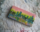 "Hand Painted Mini 2"" x 4"" Painting - City at Sunset"