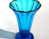 Blue Fluted Glass Vase - Hand Blown