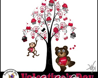 INSTANT DOWNLOAD Valentine's Day RED Cupcake Swirl Tree 1 gorgeous swirly tree with red & black cupcakes dancing bear monkey red heart tags