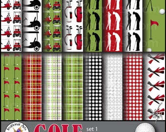 GOLF set 1 - digital paers 16 png files - golf carts silhouettes club ball tees flag bag [INSTANT DOWNLOAD]