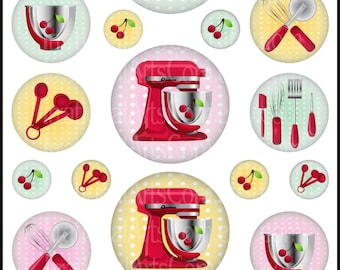 """INSTANT DOWNLOAD 50s Kitsch Mixers and Measuring Spoons 1"""", 2"""" & 3"""" Bottlecap Digital Collage Sheet with all ORIGINAL designs"""