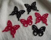 Felt Butterflies...6 Piece Set of Very Elegant Black and Red Delicate Felt Butterfly Scrapbooking Embellishments