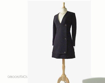 Vintage 60s Galanos Mod Mini Dress - Very RARE Unworn from Galanos Atelier - Museum Quality Designer Dress XS
