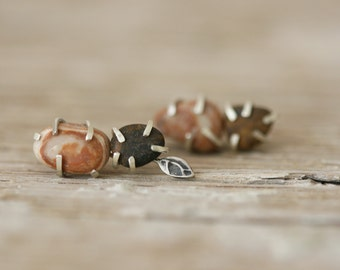 Pebble Form Earrings - Sterling Silver and Beach Pebble Studs