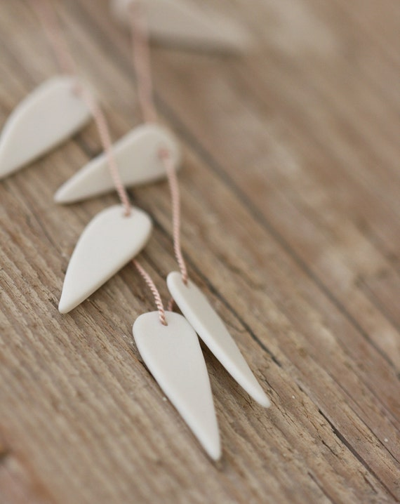 White Leaf Necklace - Porcelain, Silk and Sterling Silver