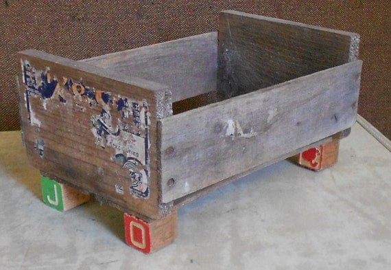 Vintage funky wood caddy box block feet ooak by for Funky garden accessories