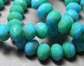Czech Opaque Blue Green 8x6mm Faceted Fire Polished Glass Rondelle Beads (25) 0610-P