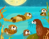 Otter Friends 11x14 giclee print - children's art poster - nursery art