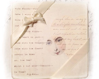 Emily Dickinson Card Valentine's Day, Pale Heart, Wild Nights, Love Poem, Pale Pink Heart