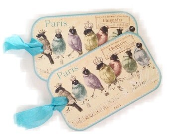 Paris Bird Gift Tags, Bridal Shower Favor Tag, Paris Rainbow Birds, Assorted Cottage Chic Gift Tags, Springtime Birds Musical Notes