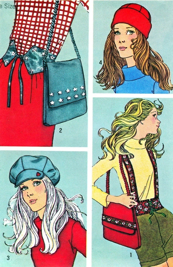 1970s Handbag and Hat Pattern Simplicity 9655 Womens Newsboy Cap Toboggan Purse Belts Vintage Sewing Pattern One Size