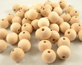 25 Wood Beads, Round - 1 inch, 25mm Unfinished Round Wooden Beads for DIY