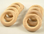 10 Wood Rings, Round - 1 3/4 inch Unfinished Wooden Rings for DIY