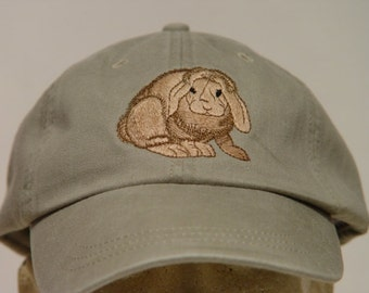 Lop Eared Bunny Rabbit Hat - One Embroidered Wildlife Cap - Price Embroidery Apparel - 24 Color Caps Available